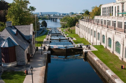 Step locks on the Rideau Canal leading down to the Ottawa River